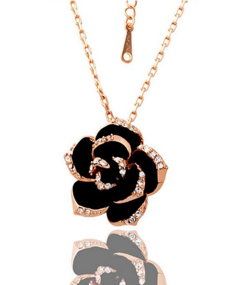 rose gold plated rose necklace for her